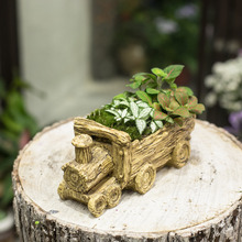 Resin Cart Truck Train Artificial Driftwood Planter Flower Pot Sculpture Succulent Planter for Decoration No Plants