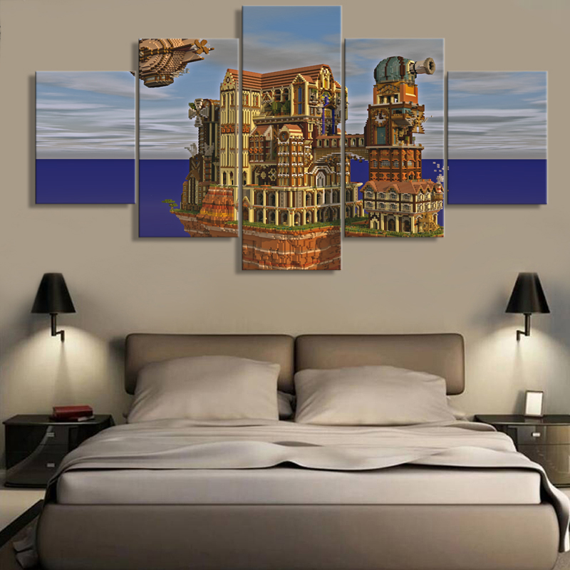 Us 549 42 Offmodern Hd Printed Pictures Frame Canvas Wall Art For Living Room Home Decor 5 Piece Minecraft Painting Game Castle Poster Pengda In