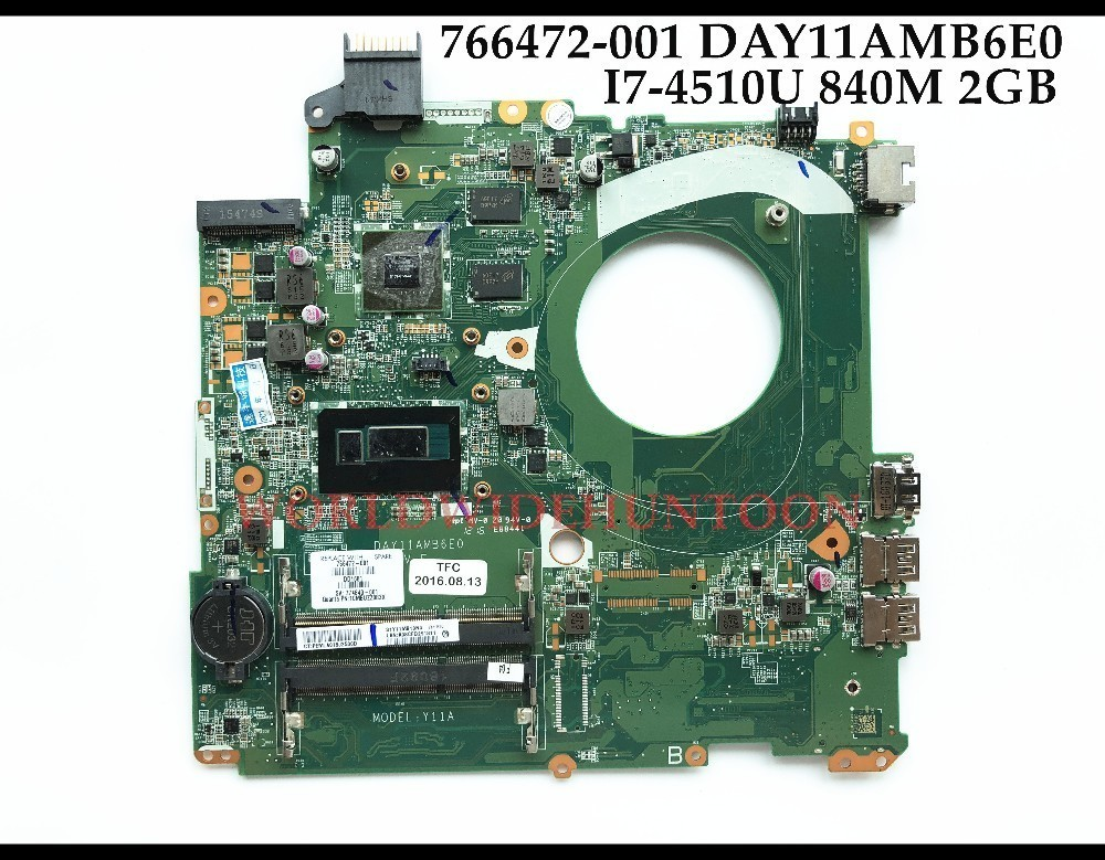 High quality 766472 001 For HP Envy 15 P Series Laptop Motherboard DAY11AMB6E0 SR1EB I7 4510U