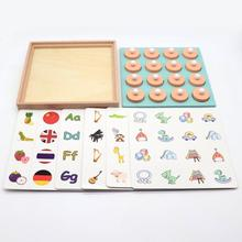 Wooden Memory Match Chess Game Early Educational Puzzles Toy for 3-6 Years Old Kids