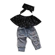 8e1a0fc5d6b04 Mode Nouveau-Né Infantile Bébé Fille Vêtements Ensemble Polka Dot Crop Tops  + Déchiré Jeans Denim Pantalon Bandeau 3 pcs Enfants.