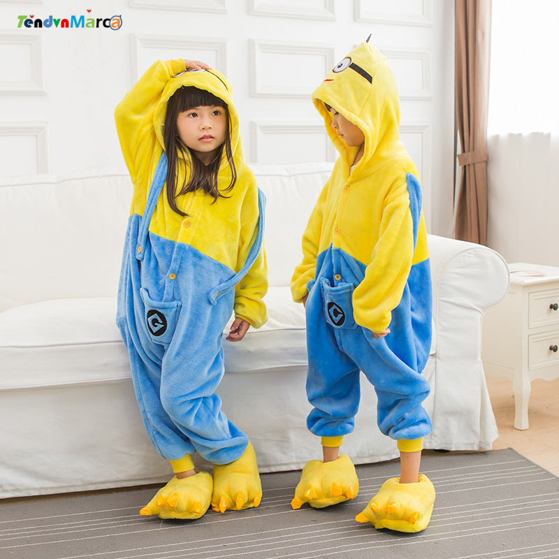 Children Pajamas Cosplay Cartoon Animal Minions Onesie Kids Sleepwear Baby Long Sleeve Pijama Infantil Kids Boy Girls Clothes