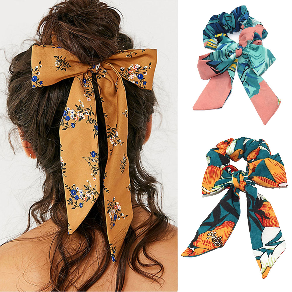 2019 Sweet Women Floral Print Scrunchie Hair Ribbon Rope Elastic Hairband Bowknot Streamers Girls Hair Ties Accessories