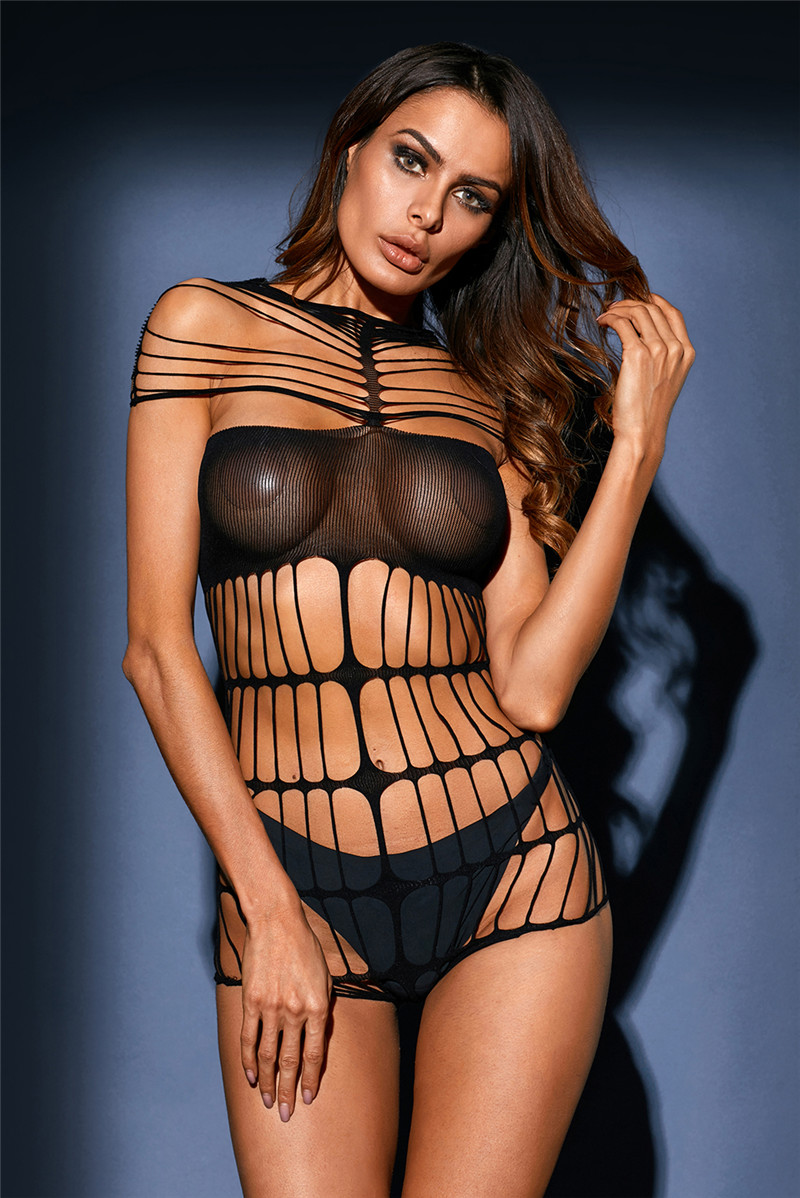 Adogirl Black Strappy Cutout Sheer Mesh Teddy Lingerie Women Sexy Sleepwear Valentine Lingeries High Quality Babydoll Nightdress