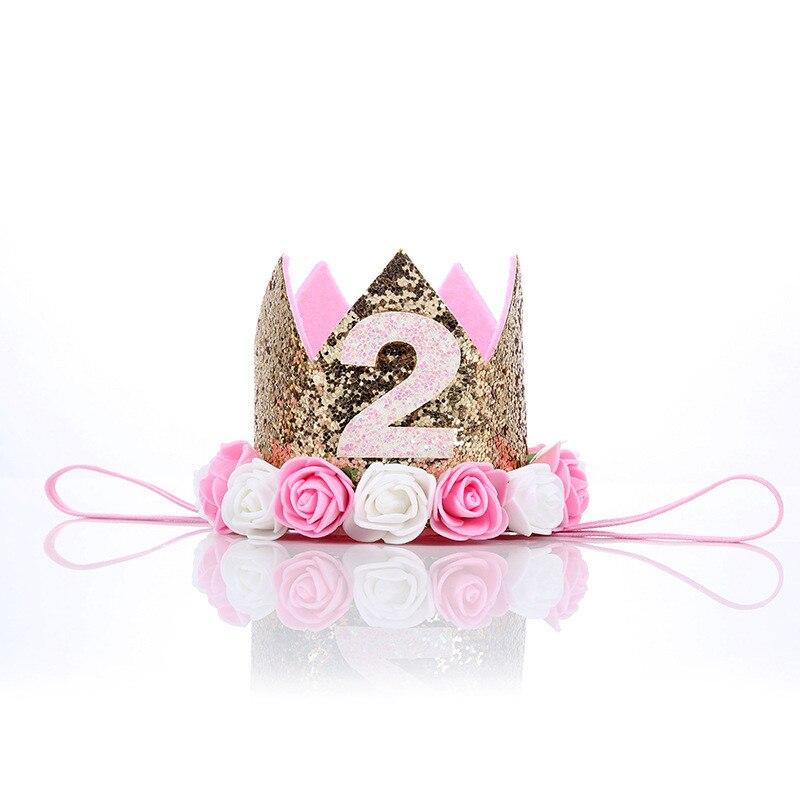 Girl Flower Crown Newborn Headband Gold silver  Birthday Crown 2  Year Number Priness Style Birthday Hat Baby Hair Accessory
