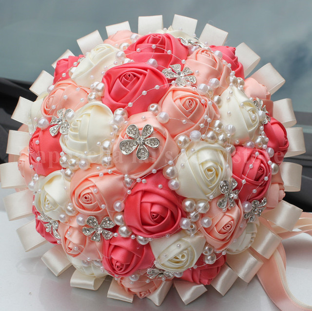 New fashion Top Quality Coral Pink Ivory Satin Rose Bouquet Custom ...