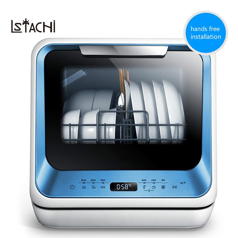 LSTACHi Brand Free Standing Mini Countertop Electric Dish Washer Hands Free Installation Automatic Dishwasher Machine For Dishes