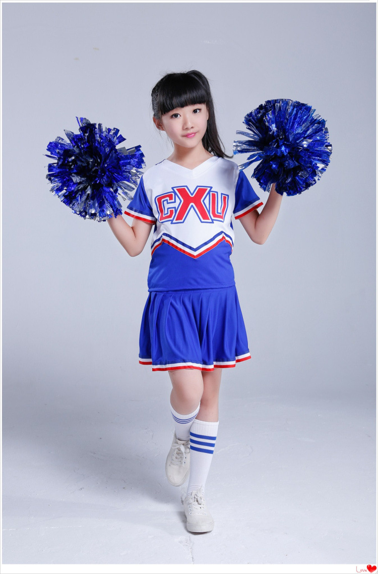 (2pcs Pom Poms Free Gifts)Dance Costume Cheerleader Modern Dancing Costumes Kids Short Sleeve Cheerleader High School Uniforms