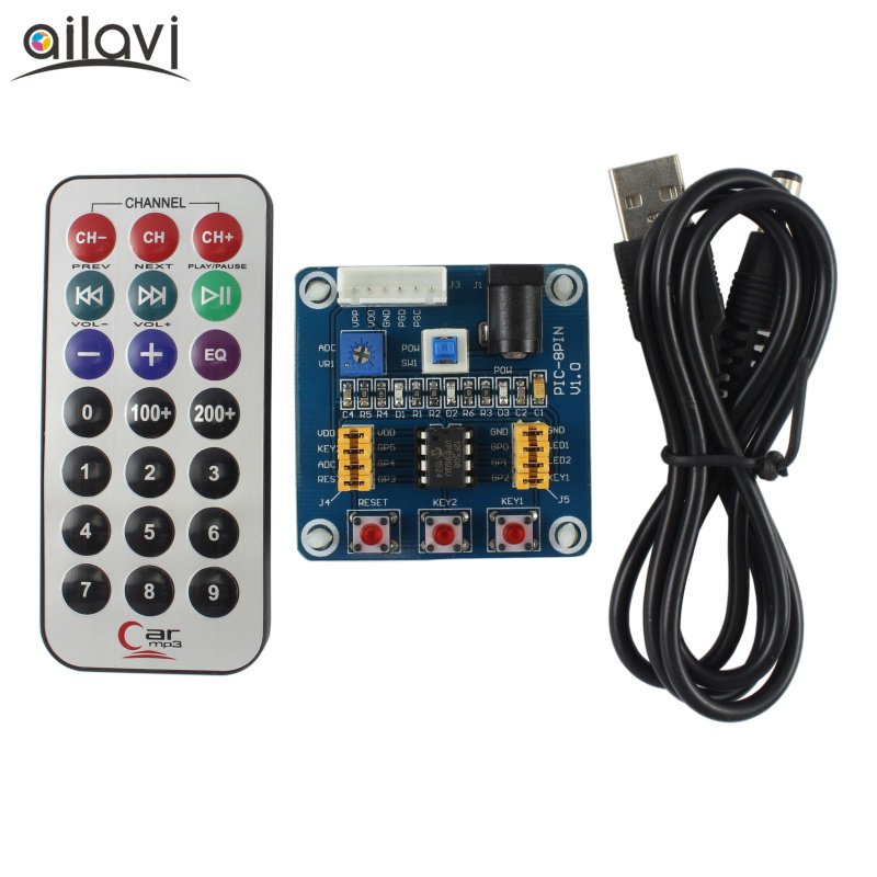 US $15 47 5% OFF|PIC12F508 Core Programming Development Board PIC Learning  Board PIC12F Emulator Experiment Board WIth Remote Control + USB Wire-in