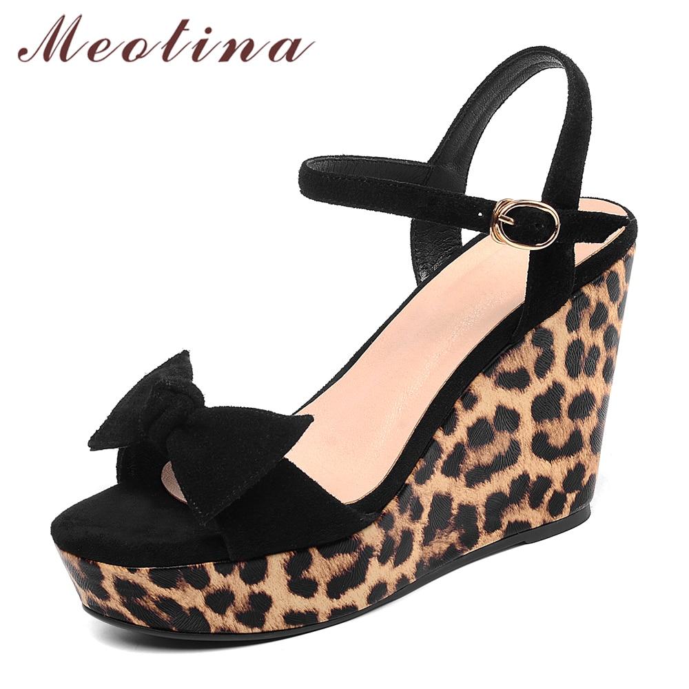 Meotina Women Shoes Summer Sandals Kid Suede Bow Platform Wedges Heel Shoes Leopard Buckle Super High