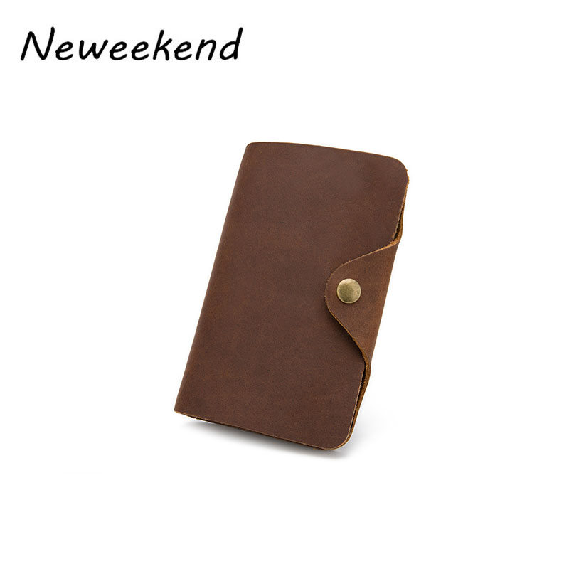NEWEEKEND Vintage Design Genuine Crazy Horse Cowhide Leather Men Wallet Purse Short Coin Pouch Handbag Small Pocket 002 crazy horse leather men wallet slim vintage genuine leather long purse cowhide bifold wallets with coin pocket and card holders