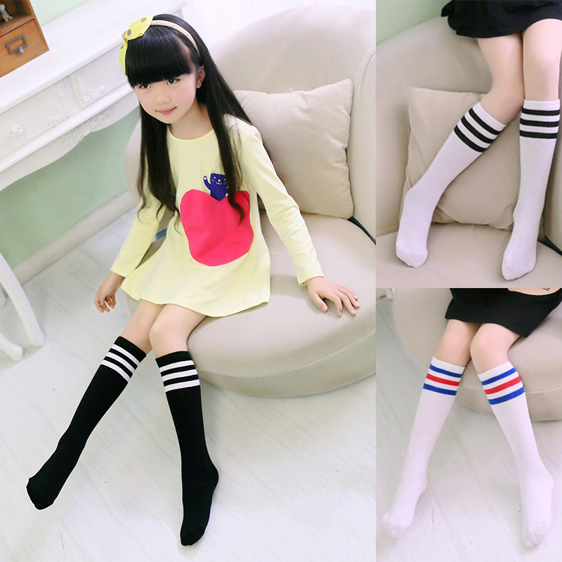 Kids Knee High   Socks   Girls Boys Football Stripes Cotton Sports School White   Socks   Skate Children Baby Long Tube Leg Warm E0060