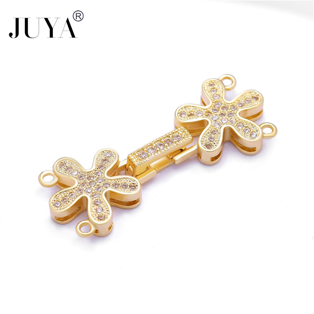 Jewelry Making Supplies 5 Pieces Wholesale DIY Strand Jewelry Fold Over Flower Clasps For Hand Made Beads Bracelets Necklaces