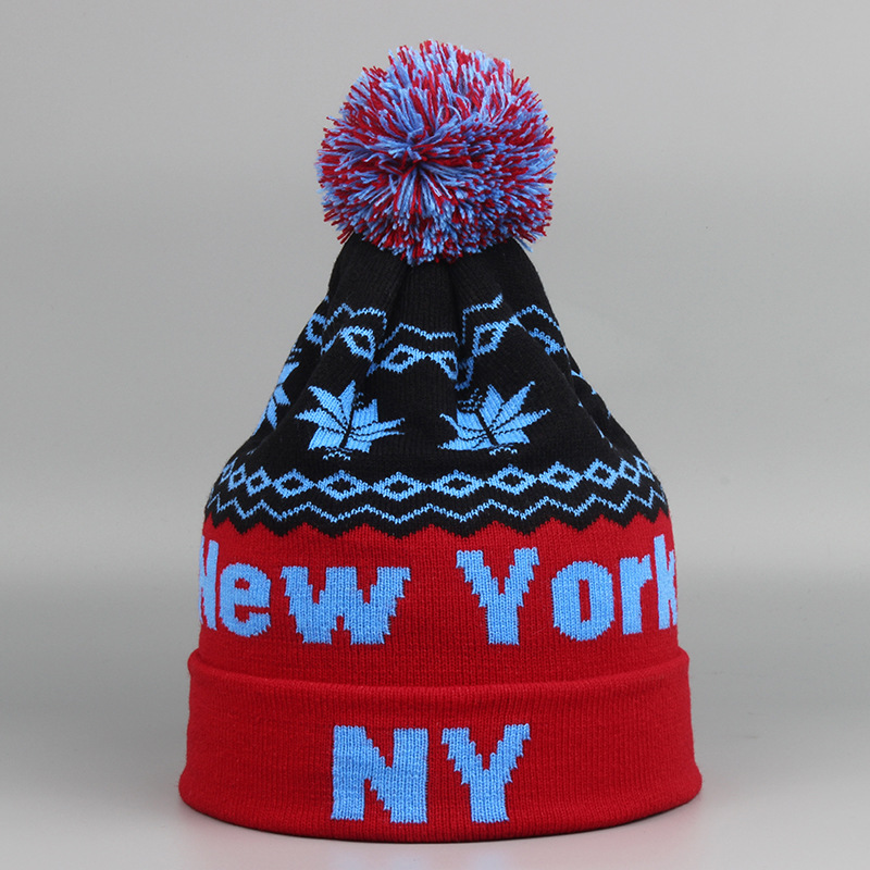Fashion Europe Fall and Winter Casual Warm NEW YORK Letter Wool Knitted Ball Hats for Men and Women Beanie Hat Gorros RX159 2016 new fashion letter gorros hats bonnets