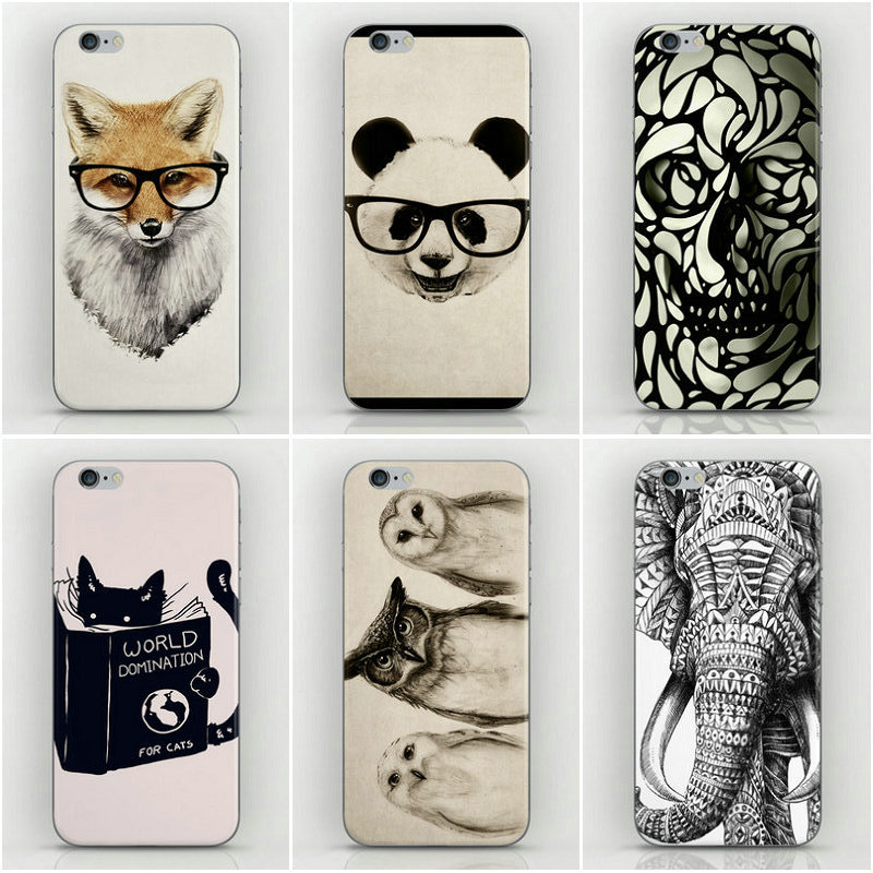 1 Piece Animal sketch Style Hard PC Back Cover Housing iPhone 4 4s 4g phone Case Factory Price- - Dream Hero Shop store