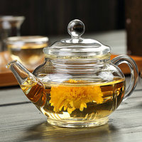 200ML Glass Teapot With Filter Tetera Con Filtro Cristal Black Tea Flowers Chinese Kung Fu Kettle
