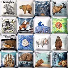 Hongbo 1 Pcs Cute Cartoon Fox Bear Pillow Case Cushion Cover Bed Pillowcase For Car Sofa Seat Home Decor(China)