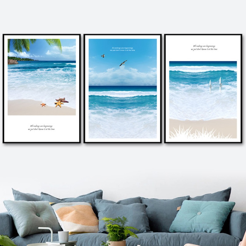 Mediterranean Sea Beach Chair Sailing Seascape Canvas Printings Oil Painting Printed On Canvas Home Wall Art Decoration Picture Fine Workmanship Home Decor