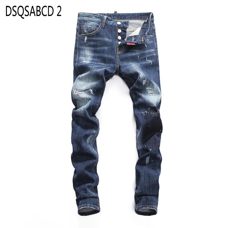 European American Style famous brand   jeans   luxury Men straight denim trousers Slim blue hole   jeans   Pencil Pants for men 8025