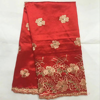 red Indian George Fabrics top class African Georgette Fabric Floral Women Dress silk material for