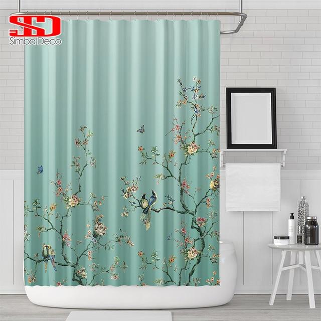סיני ציפורים שיפוע מקלחת וילונות אמבטיה עורב צמחים ירוק עמיד למים בד פוליאסטר אמבט דקור 180x180cm