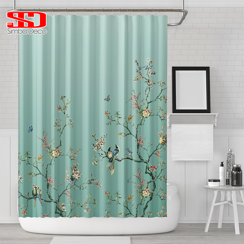 Cortinas de ducha gradiente de aves chinas para cuarto de baño - Bienes para el hogar