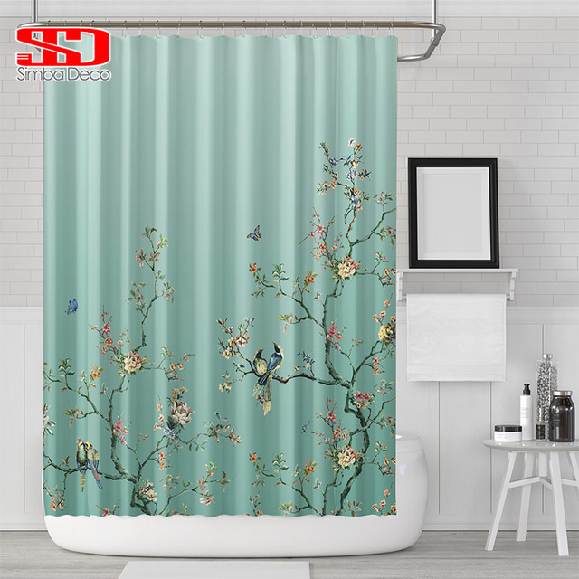 Chinese Birds Gradient Shower Curtains For Bathroom Magpies And Plants Green Waterproof Fabric Polyester Bath Decor