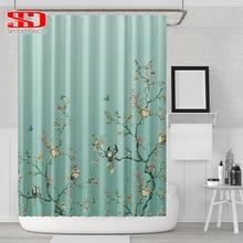 Chinesische Vögel Gradienten Dusche Vorhänge für Bad Elstern und Pflanzen Grün Wasserdichte Stoff Polyester Bad Dekor 180x180cm