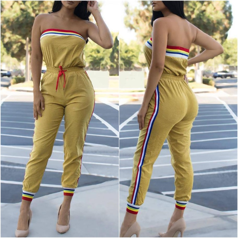 Striped Side Spliced Causal Skinny Long   Jumpsuits   2019 New Lady Strapless Sleeveless Drawstring Bodycon Rompers streetwear