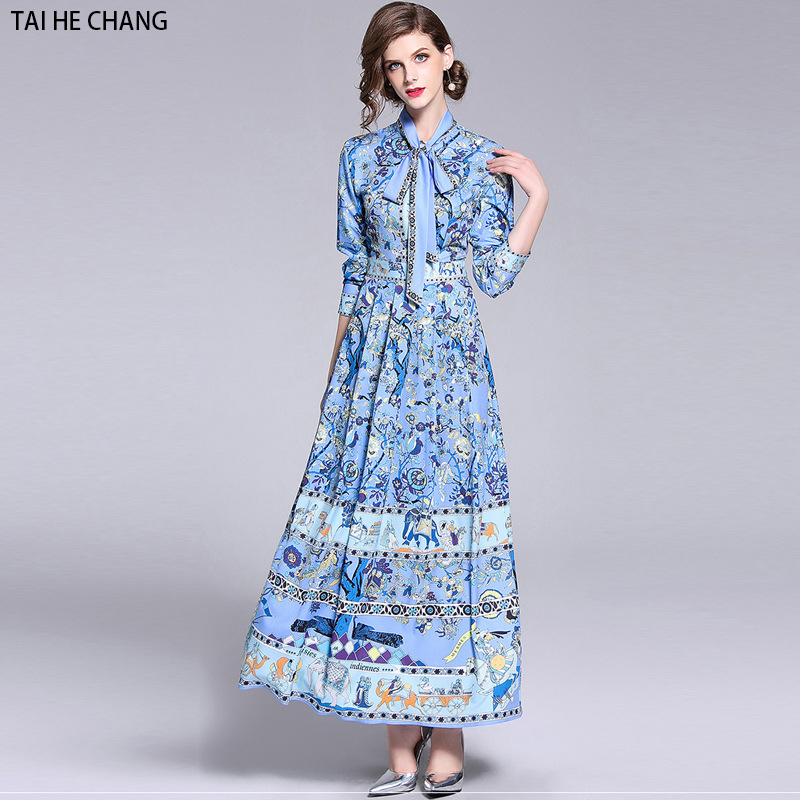 f95a788ca US $24.5 30% OFF|2018 women new autumn elegant slim bodycon casual party  runway floral print long maxi dress office work dresses summer-in Dresses  ...