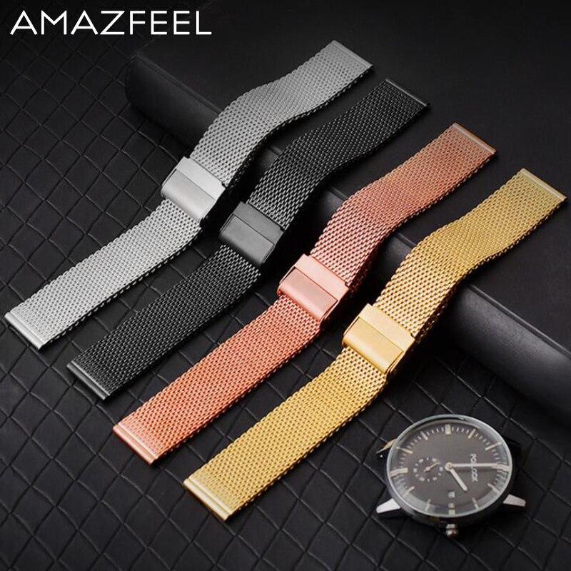 20mm pulsera Amazfit Bip poco Correa 22mm para Original Xiaomi Huami Amazfit 2 Amazfit Stratos ritmo 2 inteligente banda de reloj negro oro
