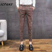 ICPANS повседневные деловые брюки для официального костюма, мужские клетчатые брюки, Мужская Уличная одежда, нарядные брюки, облегающие мужские брюки, s одежда