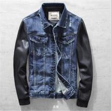 Männer Denim Jacken Mit Lederhülle Vintage Männlich Stitching Leder Oberbekleidung Motorrad Denim Jeans Jaqueta Masculina A1513
