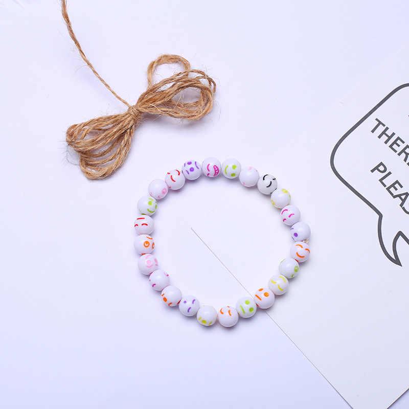 Lato kolorowe Emoji koraliki Charm bransoletki biżuteria bransoletka dla dzieci Smiley emotikon studenci ręcznie sieci trakcyjnej biżuteria