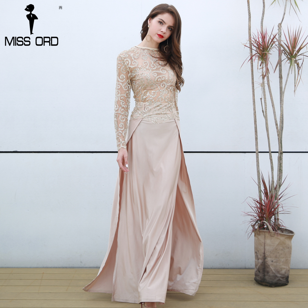 Free Shipping Missord Fashion 2018 Flash sexy high-necked long-sleeved sequin split dress FT5171