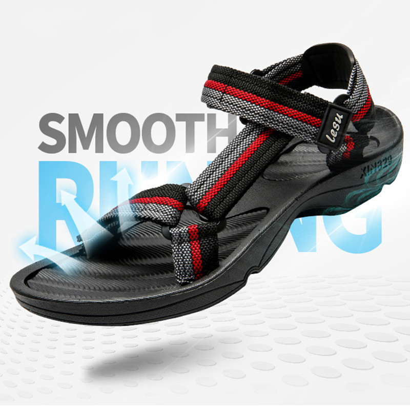 New HOOK amp LOOP Leather Sandals Men 39 s Casual Leisure sneakers Outdoor Beach Shoe Buckle Native Male Summer leisure Sandals Size 45 in Men 39 s Sandals from Shoes