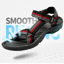 New HOOK&LOOP Leather Sandals Mens Casual Leisure sneakers Outdoor Beach Shoe Buckle Native Male Summer leisure Size 45