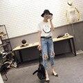 Mendigo Estilo de Color Azul Jean Señoras de 2016 Nuevas Mujeres Pantalón de Mezclilla vaqueros Lápiz de La Manera Pantalones Mujer Pantalones Más El Tamaño S-4XL