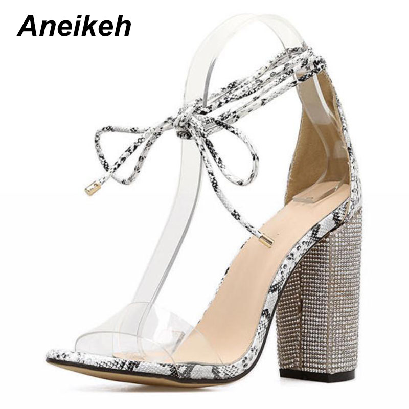 Aneikeh Women High Heels Sandals Summer Square Heels Crystal Heeled Platform Shoes Ladies Sexy Party Wedding Lace Up Shoes 5
