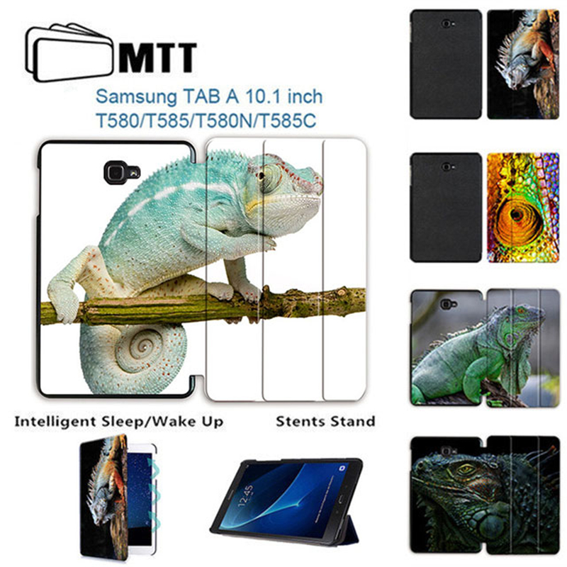 MTT Smart Stand Leather Protective Cover case for Samsung Galaxy Tab A T585 T580N T580 A6 10.1 inch tablet 2016 Chameleon case все цены