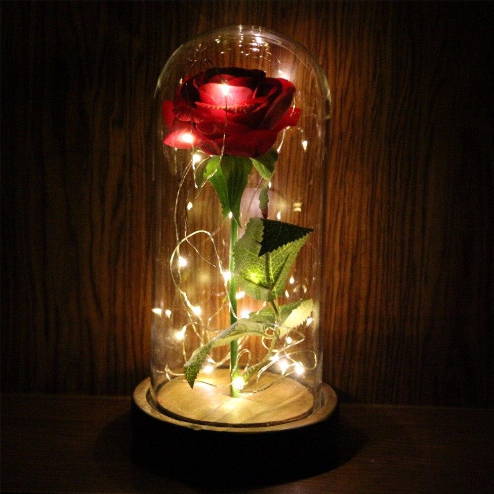 LAPHIL Éternelle Rose Fleurs LED Clignotant Lumineux Fleurs Artificielles pour le Mariage cadeau Rouge Rose dans un Dôme En Verre sur un Socle En Bois