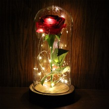 LAPHIL Eternal Rose Flowers LED Flashing Luminous Artificial Flowers for Wedding Gift Red Rose in a Glass Dome on a Wooden Base