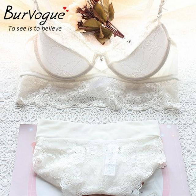 Burvogue New Lace Lingerie Bra Set Women Sexy Bra Set Push Up Bras Underwear Sets Plus size Adjustable Bras and Panties Set
