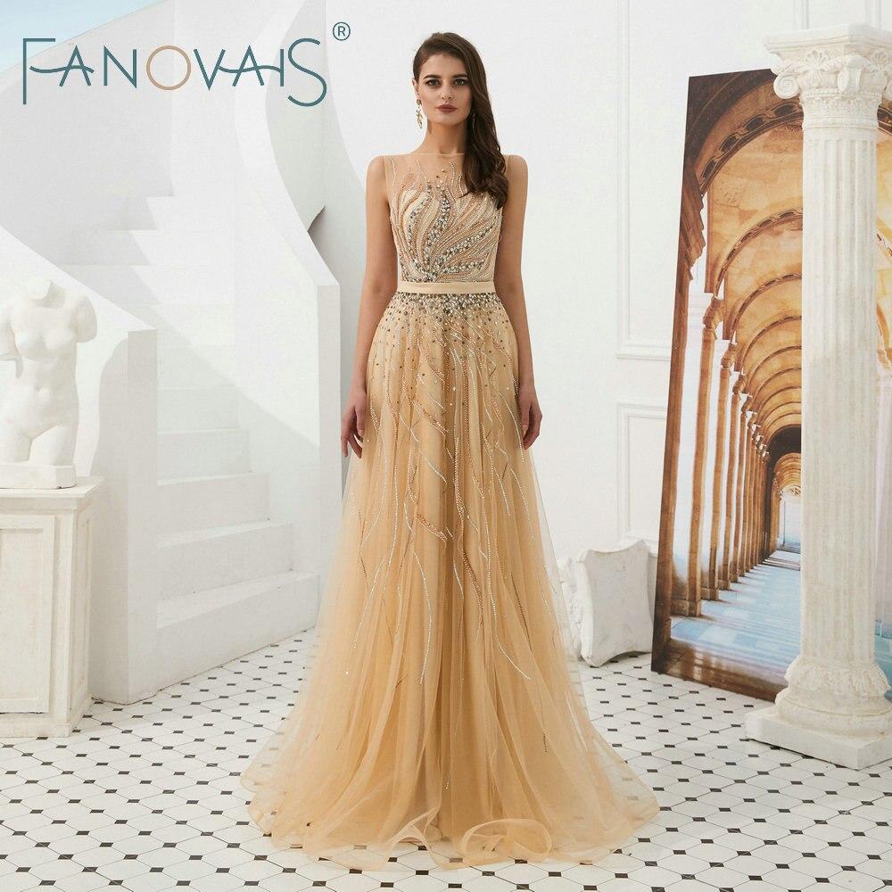 Gold   Evening     Dresses   Tulle   Evening   Gowns Vestido De Fiesta Robe De Soiree Luxury Beads Prom   Dresses   Formal   Dress   Women Elegant