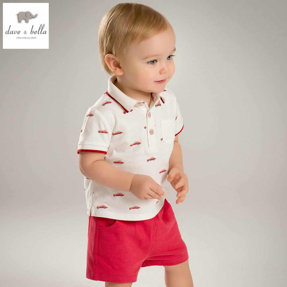 e2aa583f386e DB4839 dave bella summer baby boys clothing sets car printed child set infant  clothes kids sets