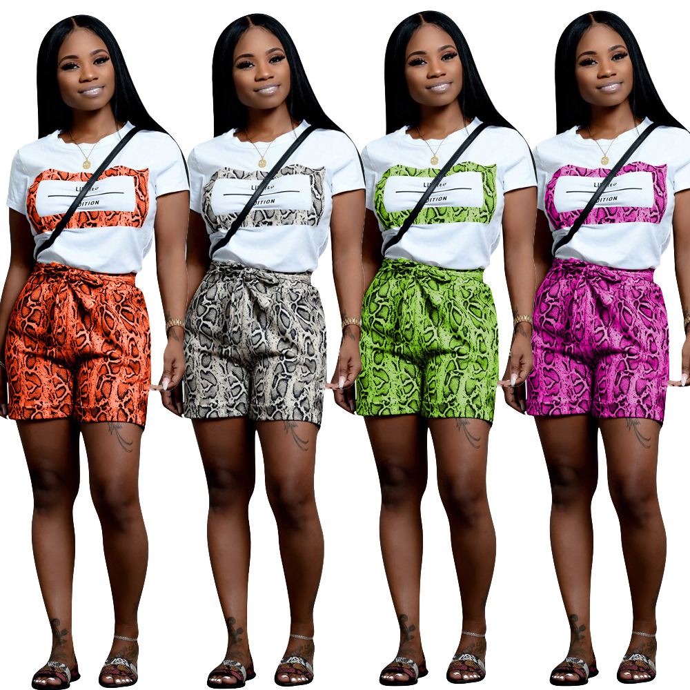 Summer Letter Snake Skin print women Tshirt short sleeve Casul short top elastic short pants Shorts Tracksuit two piece sets in Women 39 s Sets from Women 39 s Clothing