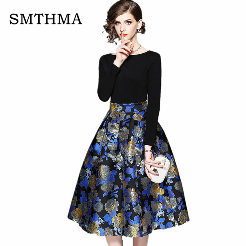 2019 Autumn And Winter New Arrival High Quality Luxury Runway High-end Jacquard Patchwork Long Sleeve Dress Vestidos