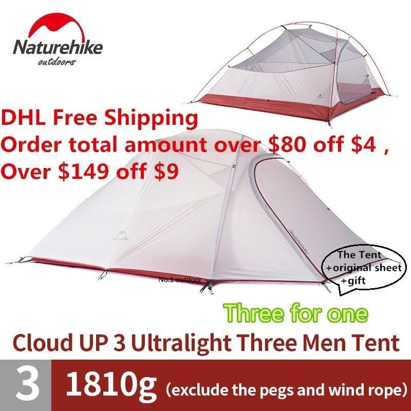 DHL freies verschiffen NatureHike fabrik verkauf zelt 1,8 kg 3 Person 20D Silikon Stoff Doppel-schicht Camping Zelte Im Freien zelt