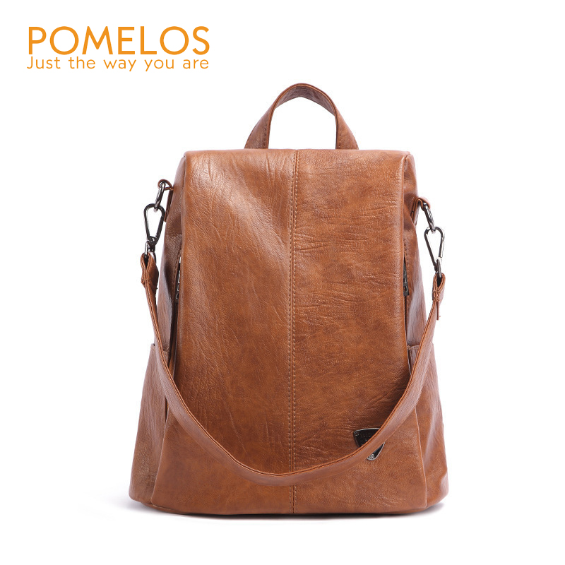 POMELOS Backpack Female 2018 New Fashion Soft PU Leather Backpack Girls Anti Theft Back Pack Rucksack High School Bags For Women pomelos backpack female designer new women leather backpack anti theft high quality soft back pack casual backpacks school bags