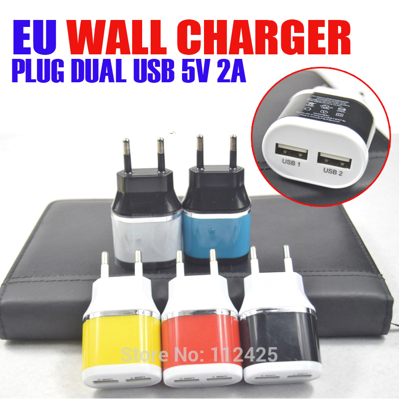 2 ports EU AC Travel USB Wall Charger for iPhone for Samsung Galaxy for HTC Cell Phones Adapter